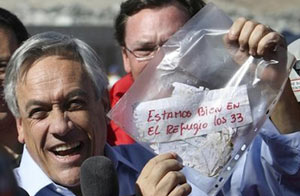 همان تکه کاغذ تاریخی و شادمانی رییس جمهور شیلی